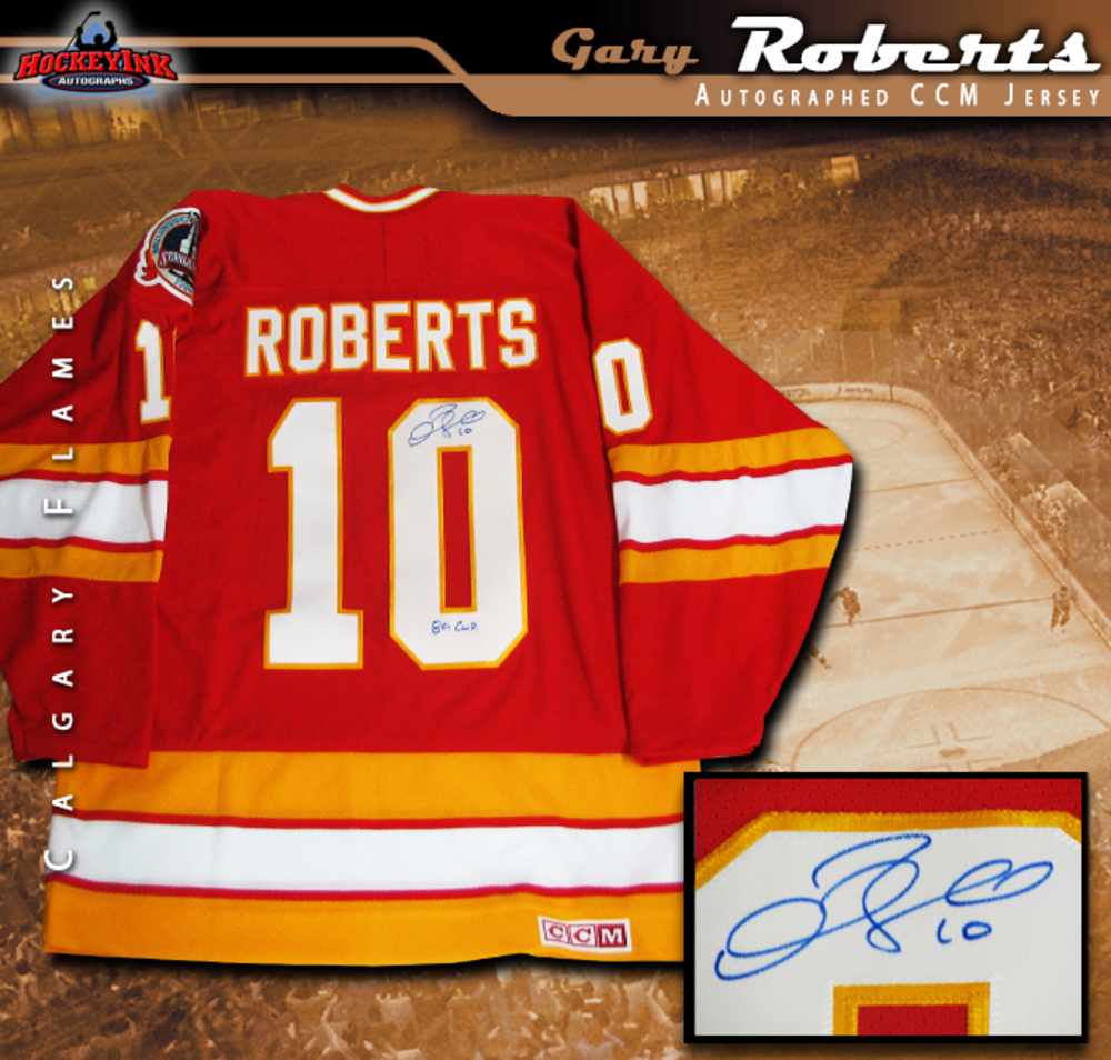 GARY ROBERTS Signed Calgary Flames Red CCM Jersey  Inscribed
