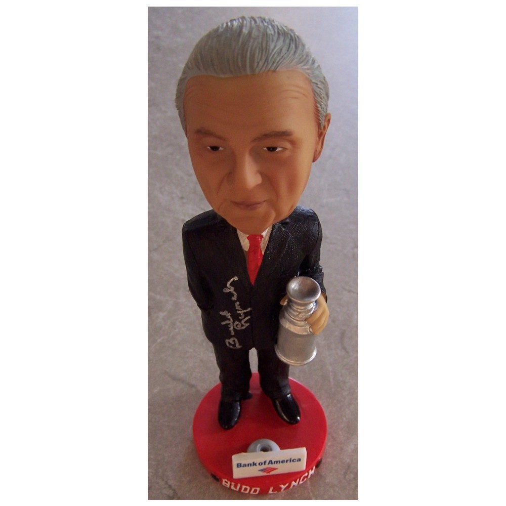 Budd Lynch (deceased)  Autographed Bobble Head-Detroit Red Wings