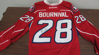AHL RED GAME ISSUED MICHAEL BOURNIVAL JERSEY SIGNED