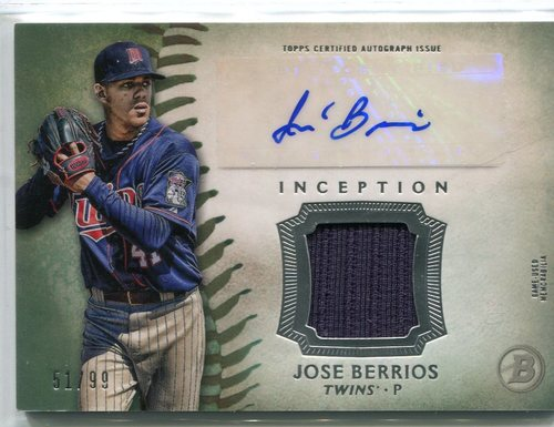 Photo of 2015 Bowman Inception Relic Autographs Green 51/99 Jose Berrios -- Twins post-season