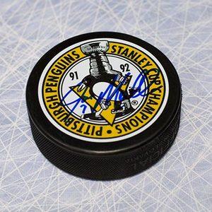 Joe Mullen Pittsburgh Penguins Autographed Stanley Cup Champions Puck