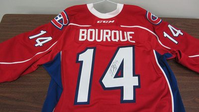 AHL RED GAME ISSUED RENE BOURQUE JERSEY SIGNED