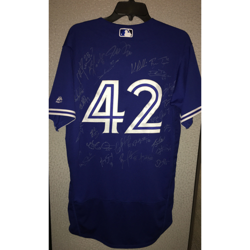 Photo of 2017 Jackie Robinson Day Jersey - Toronto Blue Jays Team Autographed Jersey