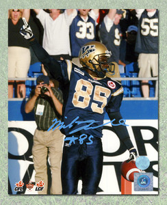 Milt Stegall Winnipeg Blue Bombers Autographed Touchdown Celebration 8x10 Photo