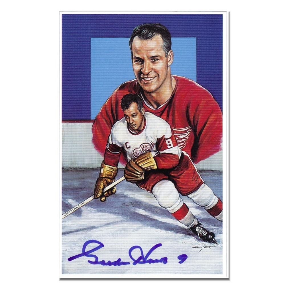 Gordie Howe Autographed Detroit Red Wings Legends Postcard