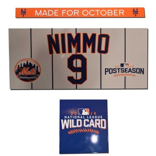 Photo of Brandon Nimmo #9 - Game Used Wild Card Locker Nameplate Set - 2016 Postseason