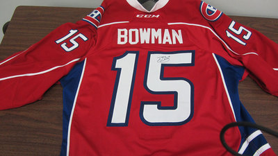 AHL RED GAME ISSUED DRAYSON BOWMAN JERSEY SIGNED