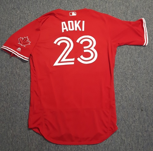 Photo of Authenticated Team Issued Jersey - #23 Norichika Aoki (2017 Season). Size 46