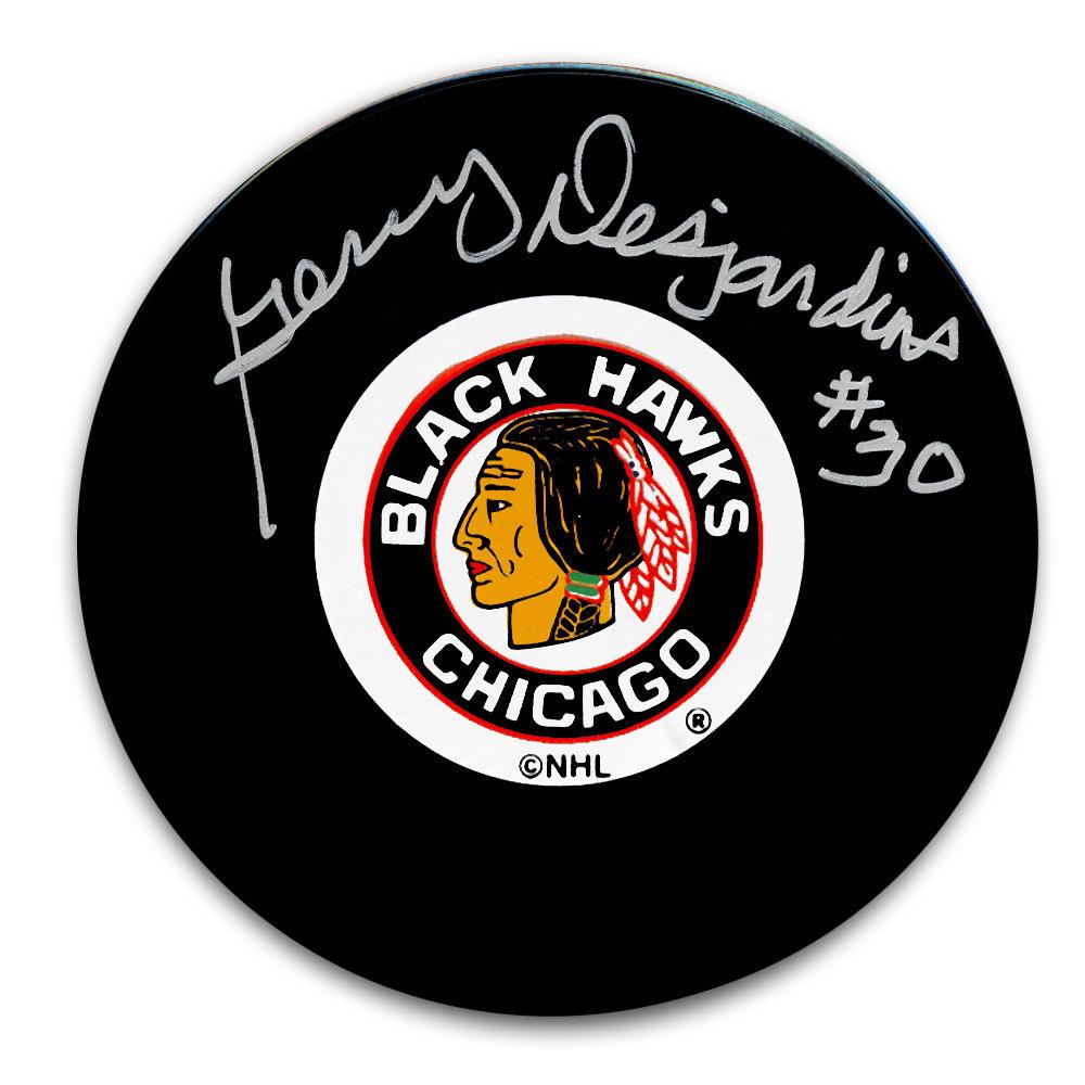 Gerry Desjardins Chicago Blackhawks Autographed Puck