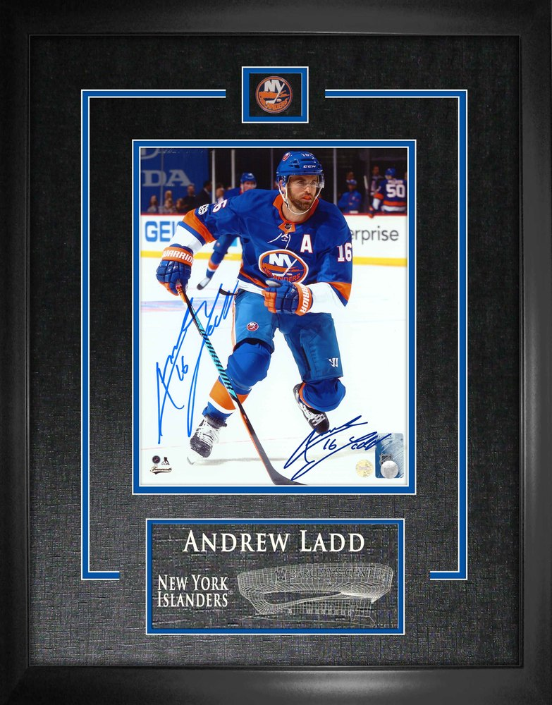 Andrew Ladd - Signed 8x10 Etched Mat Islanders Blue Skating