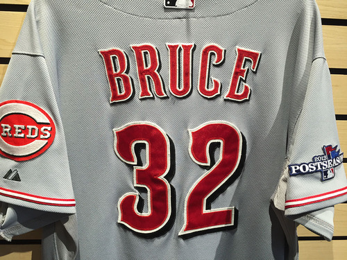 Photo of Jay Bruce Game-Used Jersey from 2013 postseason game (EK806474)