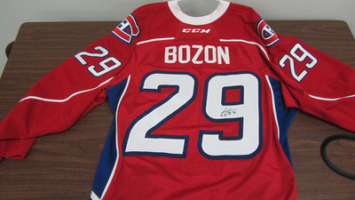 AHL RED GAME ISSUED TIM BOZON JERSEY SIGNED