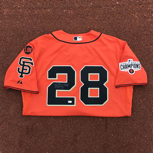 Photo of San Francisco Giants - Autographed Jersey - Buster Posey - 2014 World Series Patch (size: 46)
