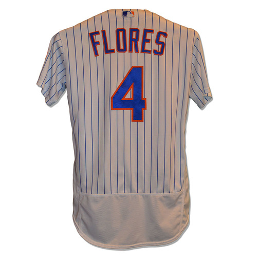 Photo of Wilmer Flores #4 - Game Used White Pinstripe Jersey - Flores Goes 2-5, 2 R, RBI, Hits Walk Off Home Run in 9th Inning - Mets vs. Athletics - 7/22/17