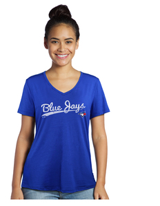 Women's Script V-Neck T-Shirt Royal by Majestic