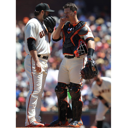 San Francisco Giants - Game-Used Catcher's Shin Guards - Buster Posey