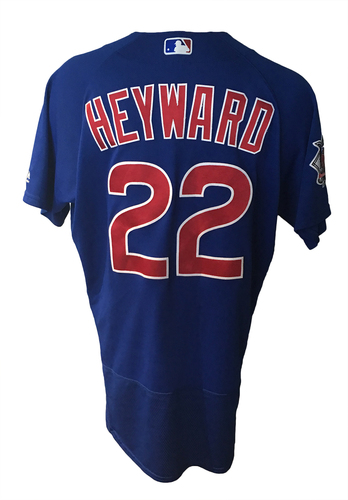 Photo of Jason Heyward Game-Used Jersey -- Cubs at Cardinals, 4/4/17, 1 Hit, 1 RBI -- Cubs at Braves, 7/18/17, 2 for 4