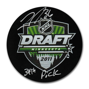 John Gibson Autographed 2011 NHL Entry Draft Puck w/39TH PICK Inscription (Anaheim Ducks)