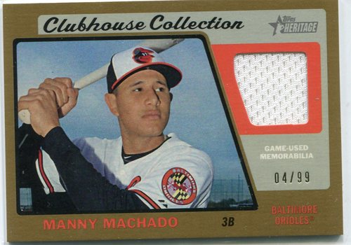 Photo of 2015 Topps Heritage Clubhouse Collection Relics Gold #CCRMM Manny Machado 04/99