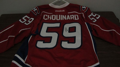 AHL RED GAME ISSUED  JOEL CHOUINARD JERSEY SIGNED