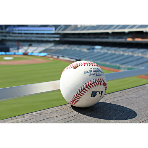 Photo of Game-Used Baseball: Brett Gardner DBL off KC's Chien-Ming Wang - (August 30, 2016 - NYY at KC)