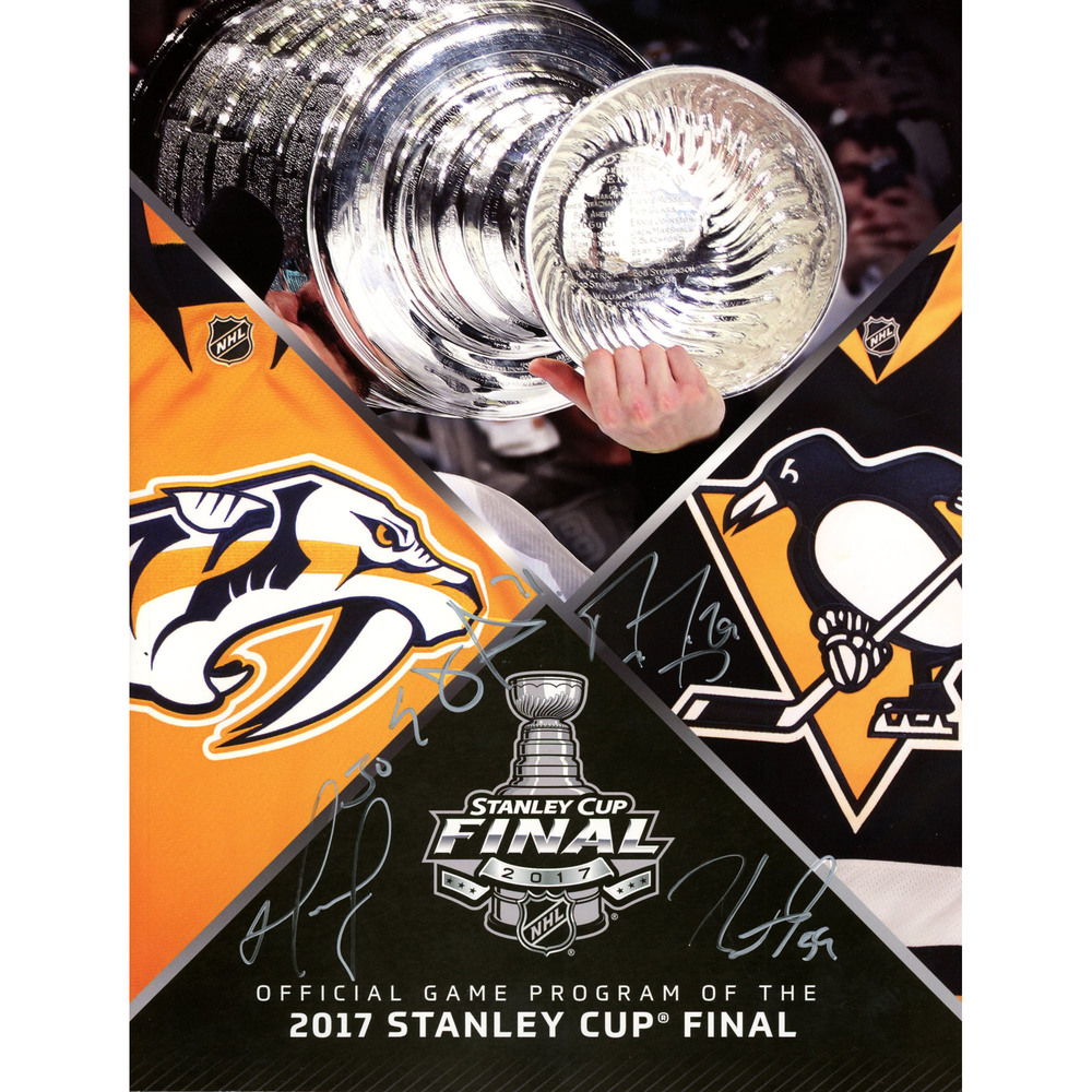 Murray, Fleury, Guentzel, Malkin Pittsburgh Penguins 2017 Stanley Cup Event-Issued Stanley Cup Final Program With Four Signatures