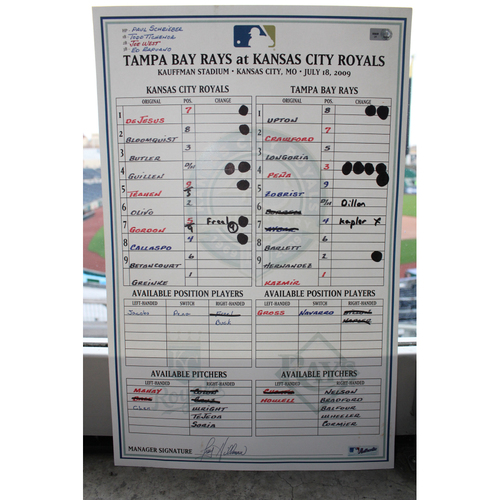 Photo of 2016 WS MVP Zobrist Game-Used Line-Up Card TB @KC from 7/18/09