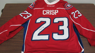 AHL RED GAME ISSUED CONNOR CRISP JERSEY SIGNED (23)