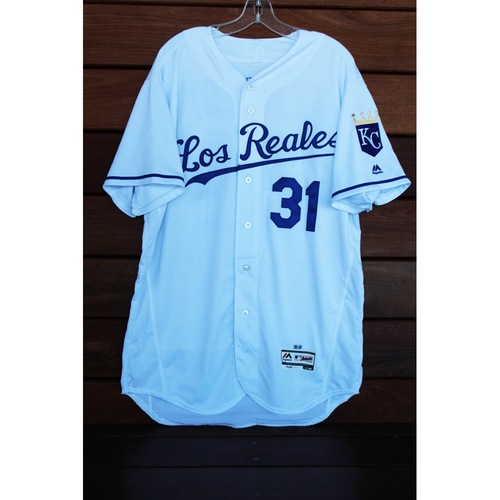 Photo of Game-Used Ian Kennedy Los Reales Jersey (Size 48 - TOR at KC - 6/24/17)