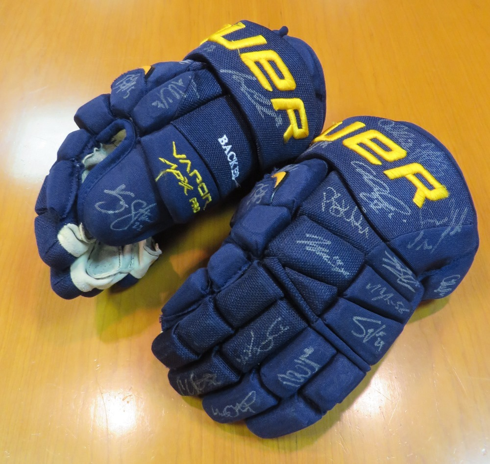 David Backes game-used gloves autographed by the 2013-14 Blues team