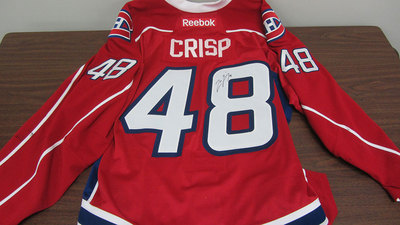 AHL RED GAME ISSUED CONNOR CRISP JERSEY SIGNED (48)