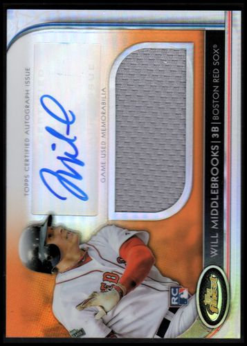 Photo of 2012 Finest Rookie Jumbo Relic Autographs Orange Refractors #WMI Will Middlebrooks