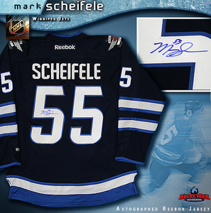MARK SCHEIFELE Signed Navy Reebok Winnipeg Jets Jersey