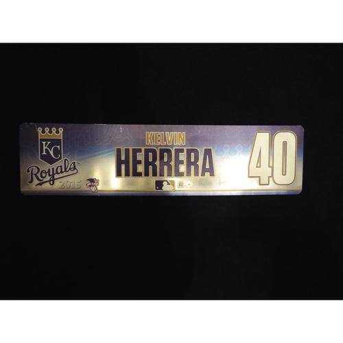 Photo of Game-Used 2015 Kelvin Herrera Locker Name Plate