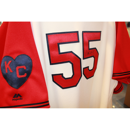 Photo of Nathan Karns Autographed Game-Used Kansas City Monarchs Jersey (5/7/2017) (Size 48)