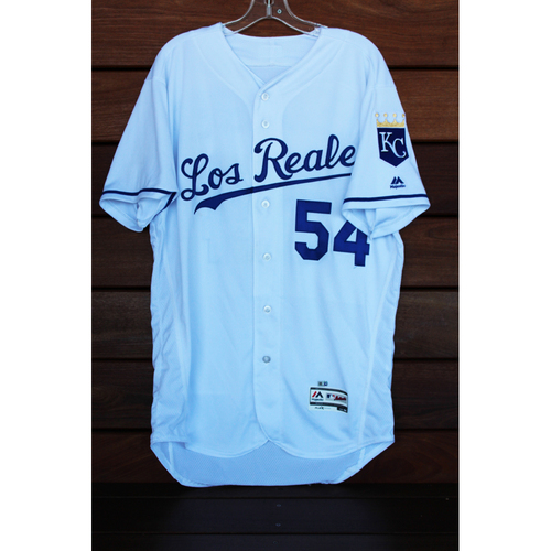 Photo of Game-Used Scott Alexander Los Reales Jersey (Size 44 - TOR at KC - 6/24/17)