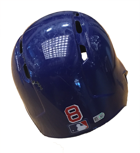 Photo of Ian Happ Team-Issued Cracked Batting Helmet -- Size 7 1/4 -- Brewers vs. Cubs -- 9/9/17