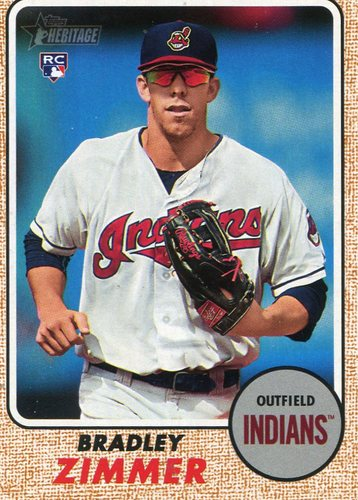 Photo of 2017 Topps Heritage #576A Bradley Zimmer -- Indians post-season Rookie Card