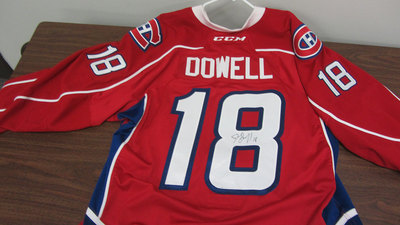 AHL RED GAME ISSUED JAKE DOWELL JERSEY SIGNED (2 OF 2)