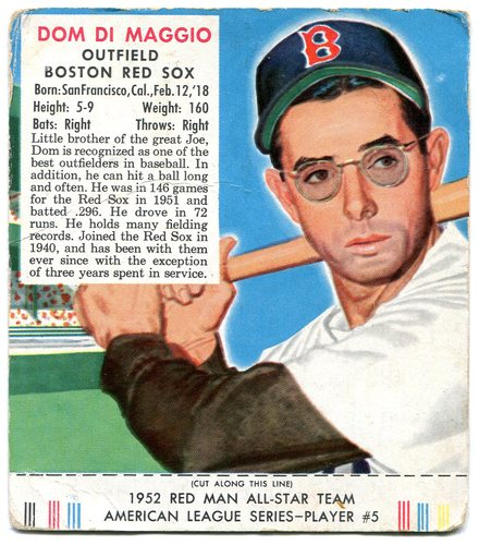 Photo of 1952 Red Man #AL5 Dom DiMaggio -- With tab