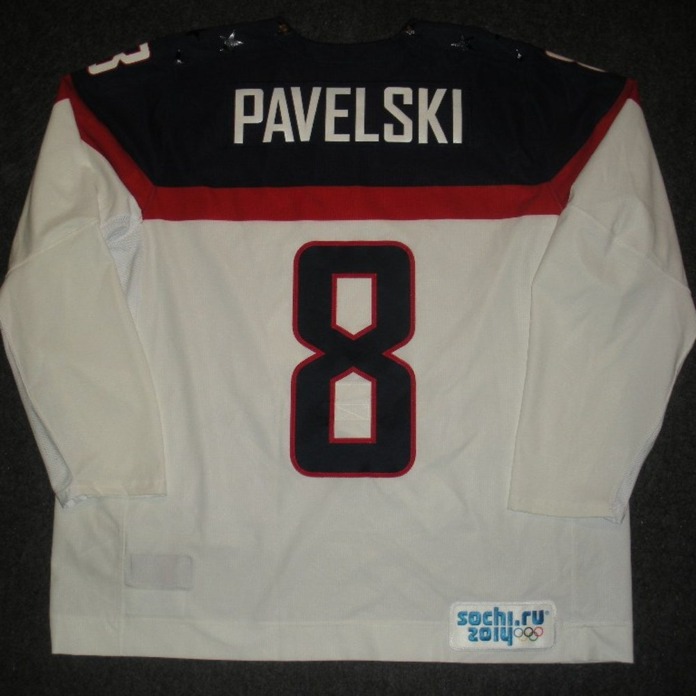 Joe Pavelski - Sochi 2014 - Winter Olympic Games - Team USA White Game-Worn Jersey - Worn in 2nd and 3rd Periods vs. Slovakia, 2/13/14