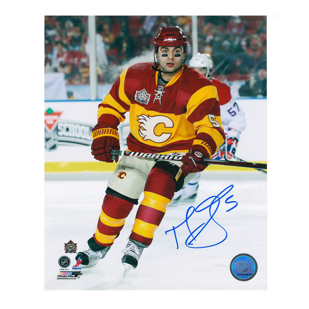MARK GIORDANO Signed Calgary Flames 2011 NHL HERITAGE CLASSIC 8 X 10 Photo - 70239