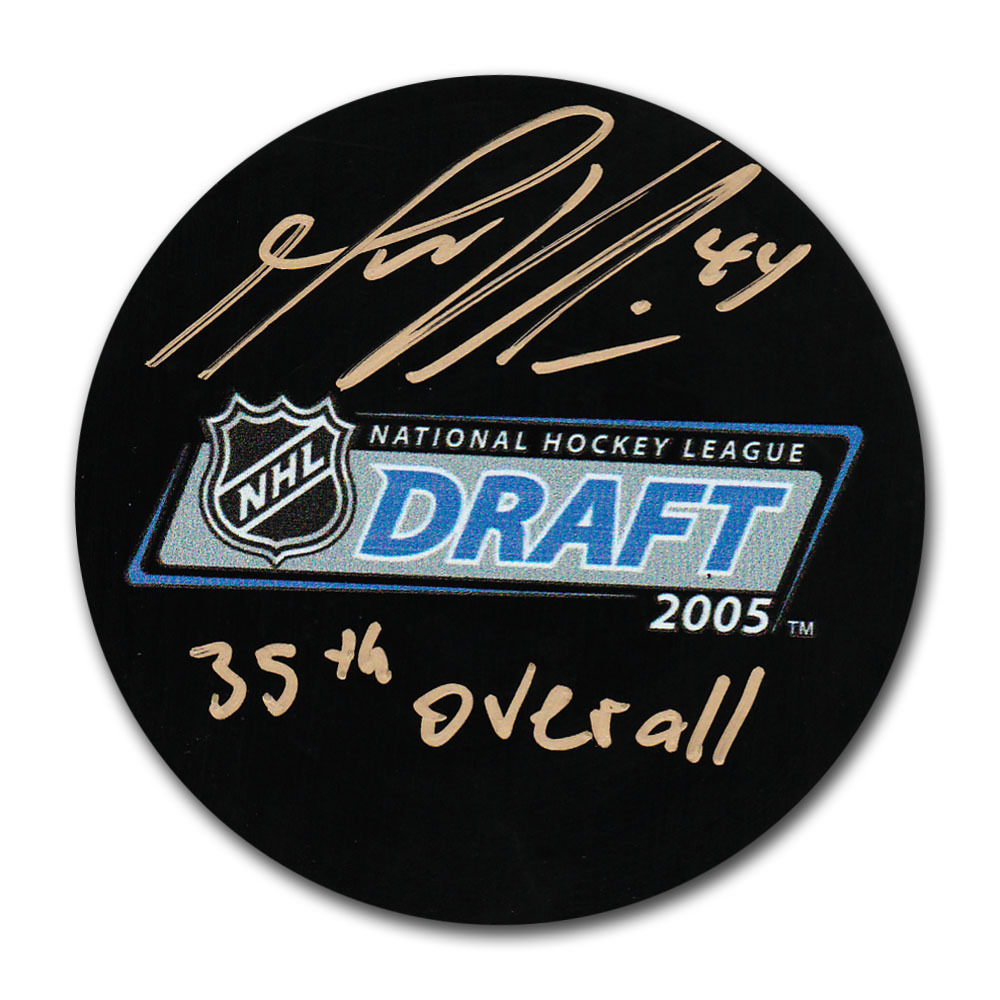 Marc-Edouard Vlasic Autographed 2005 NHL Entry Draft Puck w/35TH OVERALL Inscription