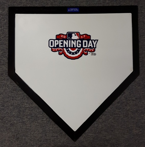 Photo of Authenticated Home Plate for Ceremonial First Pitch (Hall of Famer Tim Raines to Hall of Famer Roberto Alomar) - 41st Blue Jays Home Opener