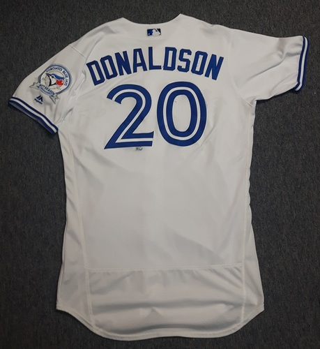 Photo of Authenticated Game Used Jersey - #20 Josh Donaldson (September 9, 2016). Donaldson went 0-for-4. Size 44