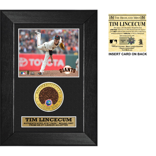 Photo of San Francisco Giants - Tim Lincecum 2014 No Hitter Game-Used Dirt 5 x 7 Frame