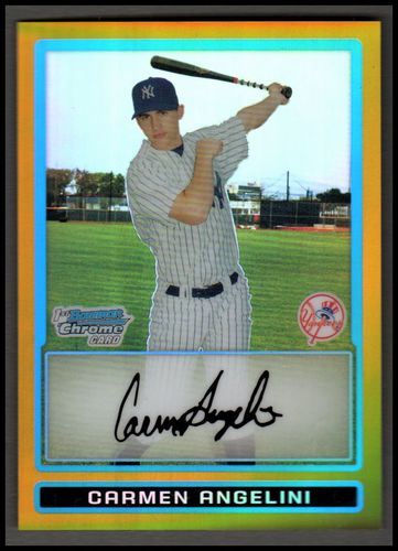 Photo of 2009 Bowman Chrome Prospects Gold Refractors #BCP167 Carmen Angelini