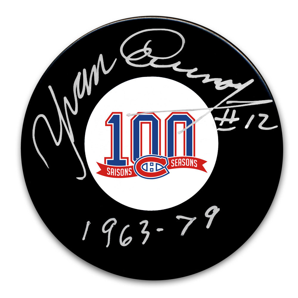 Yvan Cournoyer Montreal Canadiens 100th Anniversary Autographed Puck