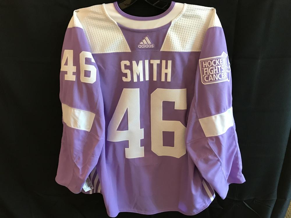 Gemel Smith Warm-Up Worn Hockey Fights Cancer Jersey