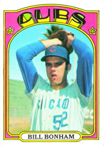 Photo of 1972 Topps #29A Bill Bonham RC/Yellow underline/C and S of Cubs